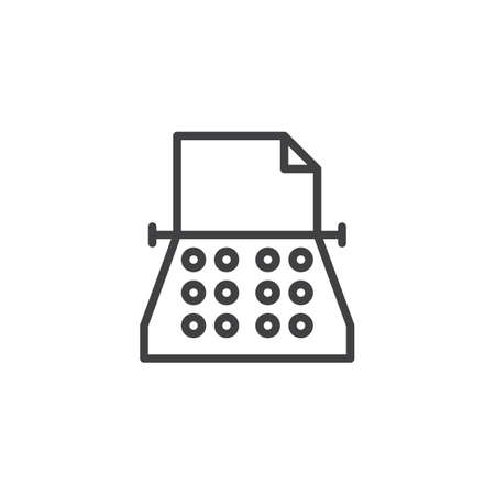 Vintage typewriter outline icon. linear style sign for mobile concept and web design. Copywriting simple line vector icon. Symbol, illustration. Pixel perfect vector graphics Banque d'images - 112445965