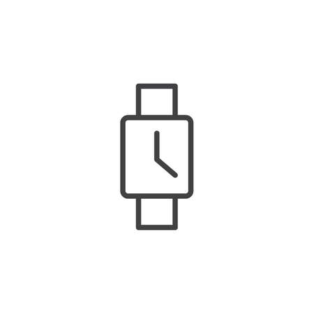 Square wristwatch outline icon. linear style sign for mobile concept and web design. Hand watch simple line vector icon. Symbol, logo illustration. Pixel perfect vector graphics