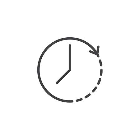 Clockwise rotation outline icon. Linear style sign for mobile concept and web design. Time arrow update simple line vector icon. Symbol, logo illustration. Pixel perfect vector graphics