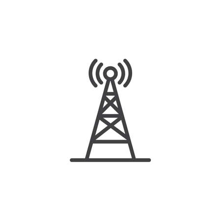 Radio antenna wireless outline icon. Linear style sign for mobile concept and web design. Network signal antenna simple line vector icon. Symbol, logo illustration. Pixel perfect vector graphics
