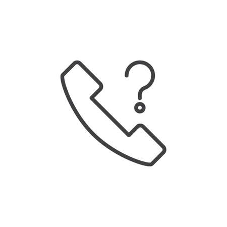 Unknown Phone call outline icon. Linear style sign for mobile concept and web design. Telephone with question mark simple line vector icon. Symbol, logo illustration. Pixel perfect vector graphics