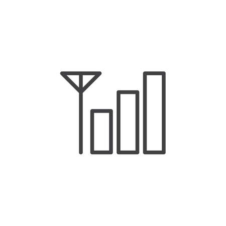 Phone signal level outline icon. Linear style sign for mobile concept and web design. Antenna signal power simple line vector icon. Symbol, logo illustration. Pixel perfect vector graphics