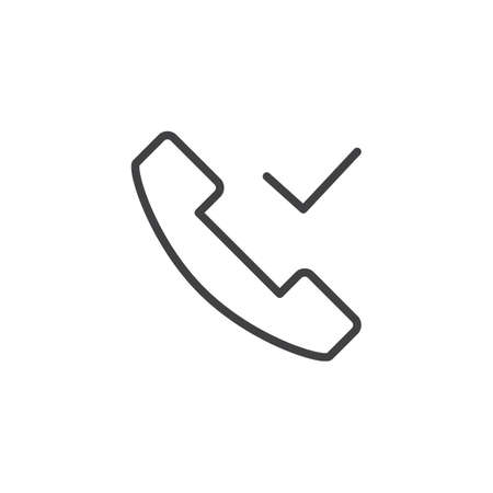 Phone call check mark outline icon. Linear style sign for mobile concept and web design. Telephone handset received simple line vector icon. Symbol, logo illustration. Pixel perfect vector graphics