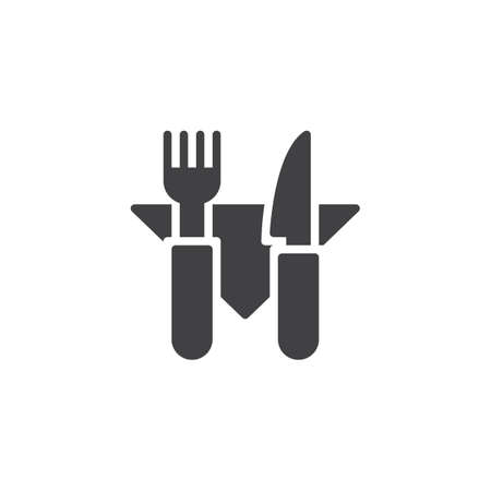 Fork knife and napkin vector icon. filled flat sign for mobile concept and web design. Restaurant cutlery simple solid icon. Symbol illustration. Pixel perfect vector graphics Illustration