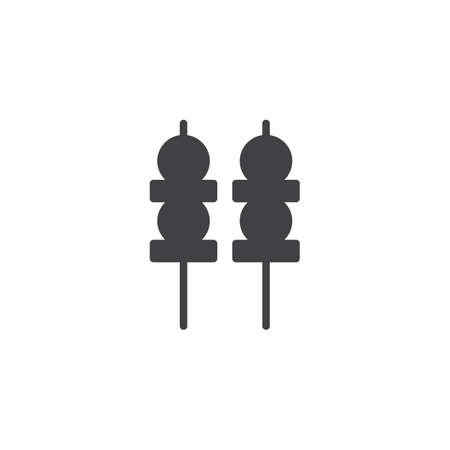 Yakitori skewers vector icon. filled flat sign for mobile concept and web design. Skewer canapes solid icon. Symbol illustration. Pixel perfect vector graphics Illustration
