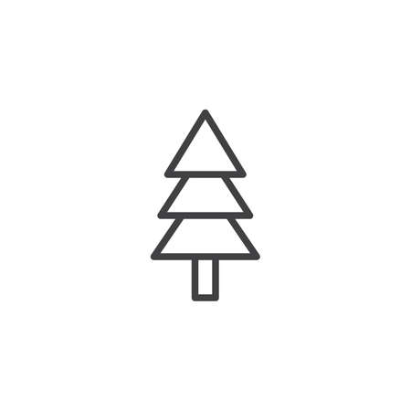 Fir tree outline icon. linear style sign for mobile concept and web design. Pine tree simple line vector icon. Symbol illustration. Pixel perfect vector graphics