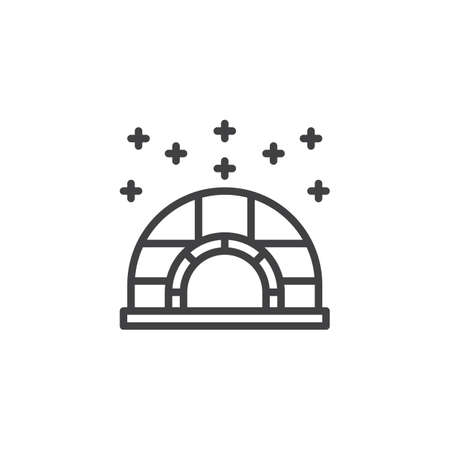 Winter shelter outline icon. linear style sign for mobile concept and web design. Igloo ice house and snow simple line vector icon. Symbol, logo illustration. Pixel perfect vector graphics  イラスト・ベクター素材