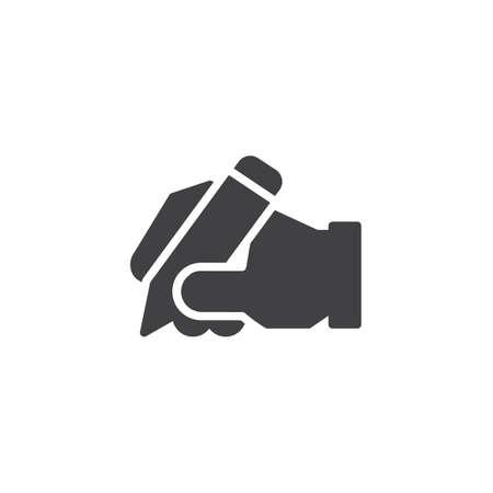 Hand schrijven vector pictogram. gevuld plat bord voor mobiel concept en webdesign. hand houden pen eenvoudig solide pictogram. Copywriter symbool, logo afbeelding. Pixel perfecte vectorafbeeldingen Logo