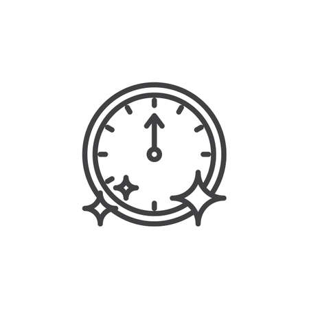 Wall clock pointing at 12 oclock outline icon. linear style sign for mobile concept and web design. New year clock simple line vector icon. Symbol,  illustration. Pixel perfect vector graphics Archivio Fotografico