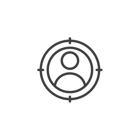 User Target outline icon. linear style sign for mobile concept and web design. Target person simple line vector icon. Symbol, logo illustration. Pixel perfect vector graphics