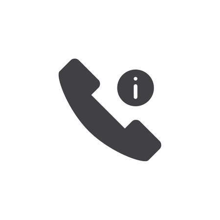 Phone call information vector icon. filled flat sign for mobile concept and web design. Telephone info simple solid icon. Symbol, logo illustration. Pixel perfect vector graphics Çizim