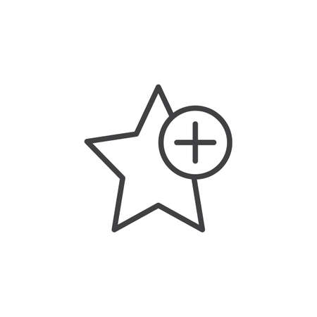 Add star bookmark outline icon. linear style sign for mobile concept and web design. Favorite star plus simple line vector icon. Symbol, illustration. Pixel perfect vector graphics