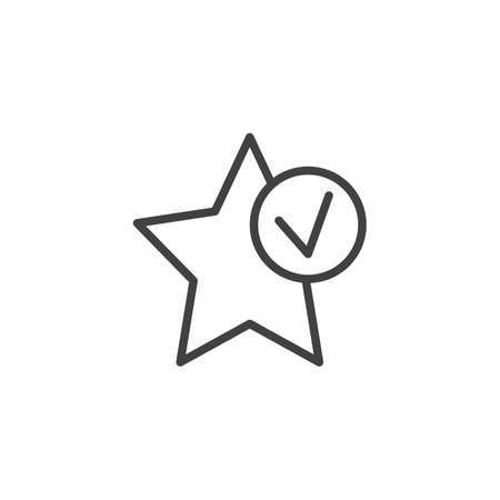 Star bookmark add outline icon. linear style sign for mobile concept and web design. Add favorite star with check simple line vector icon. Symbol, illustration. Pixel perfect vector graphics