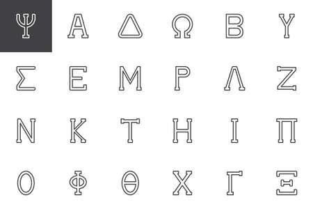 Greek alphabet symbols outline icons set. linear style symbols collection, line signs pack. vector graphics. Set includes icons as Psi letter, Alpha, Delta, Omega, Beta, Epsilon, Mu, Lambda Nu Ilustração