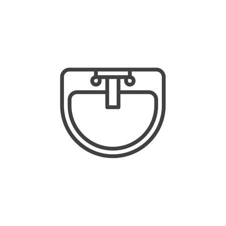 Icône de contour de la vue de dessus du lavabo et du robinet d'eau. signe de style linéaire pour le concept mobile et la conception Web. Icône de vecteur de ligne simple de meubles d'intérieur d'évier. Symbole, illustration du logo. Vecteur parfait de pixel Logo