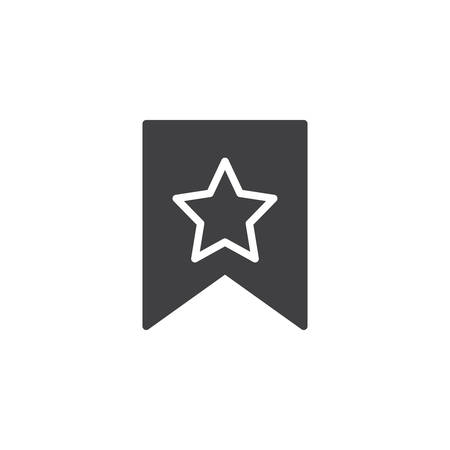 Bookmark with star vector icon. filled flat sign for mobile concept and web design. Favorite bookmark simple solid icon. Symbol, logo illustration. Pixel perfect vector graphics