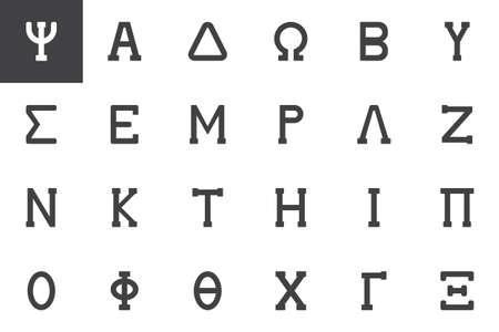 Greek alphabet symbols vector icons set modern solid symbol collection filled style pictogram pack. Signs logo illustration. Set includes icons as Psi letter, Alpha, Delta, Omega, Beta, Sigma, Epsilon