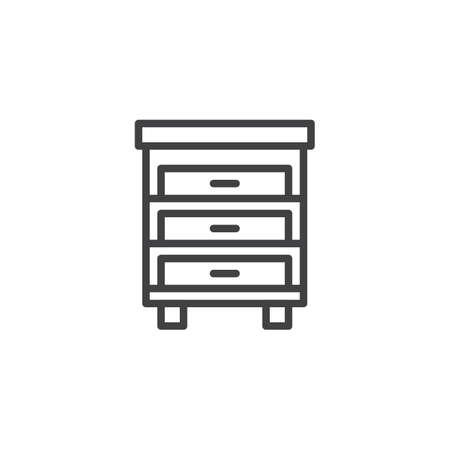 Drawer cabinet outline icon. linear style sign for mobile concept and web design. Nightstand simple line vector icon. Symbol, logo illustration. Pixel perfect vector graphics