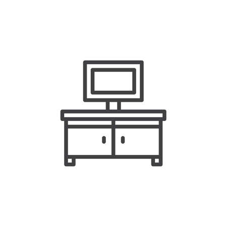 Tv table outline icon. linear style sign for mobile concept and web design. TV stand simple line vector icon. Symbol, logo illustration. Pixel perfect vector graphics