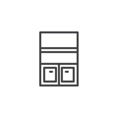 Empty bookshelf stand outline icon. linear style sign for mobile concept and web design. Wardrobe Furniture simple line vector icon. Symbol, logo illustration. Pixel perfect vector graphics