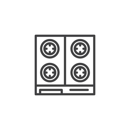 Kitchen Stove top view outline icon. linear style sign for mobile concept and web design. Gas stove simple line vector icon. Symbol, logo illustration. Pixel perfect vector graphics