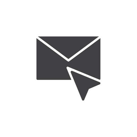 Cursor and envelope mail vector icon. filled flat sign for mobile concept and web design. Click on email solid icon. Mouse pointer click symbol, illustration. Pixel perfect vector