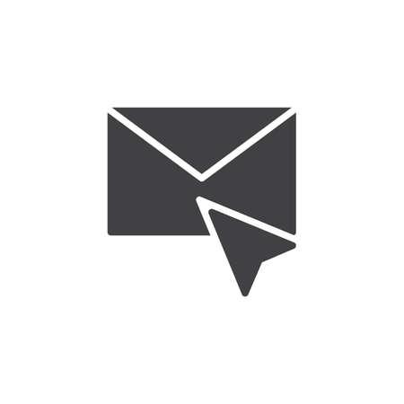 Kursor i koperta wektor ikona poczty. wypełniony znak płaski dla koncepcji mobilnej i projektowania stron internetowych. Kliknij ikonę stałego e-maila. Wskaźnik myszy kliknij symbol, ilustracja. Idealny wektor pikseli