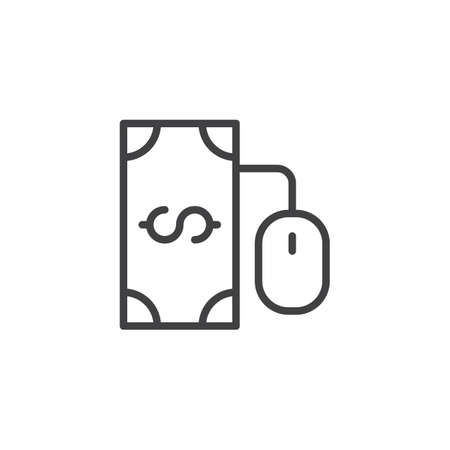 Online banking outline icon. linear style sign for mobile concept and web design. Dollar money and computer mouse simple line vector icon. PPC, Pay per click symbol, logo illustration