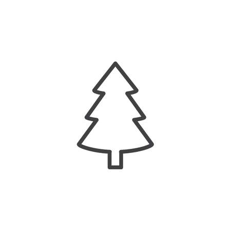 Xmas spruce tree outline icon. linear style sign for mobile concept and web design. Fir tree simple line vector icon. Symbol, logo illustration. Pixel perfect vector graphics  イラスト・ベクター素材