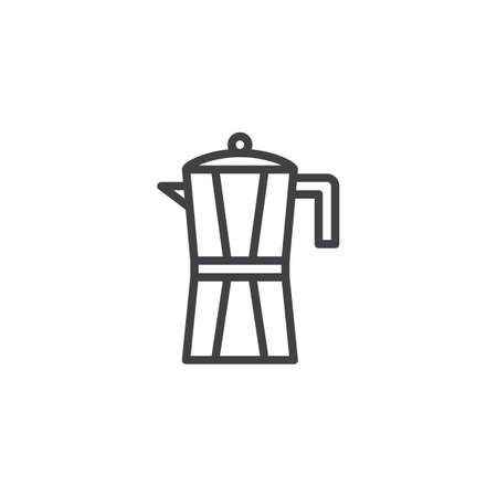 Coffee pot outline icon. linear style sign for mobile concept and web design. Geyser Coffee Maker line vector icon. Symbol,  illustration. Pixel perfect vector graphics