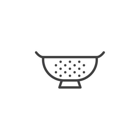 Kitchen strainer outline icon. linear style sign for mobile concept and web design. Sieve simple line vector icon. Symbol, illustration. Pixel perfect vector graphics