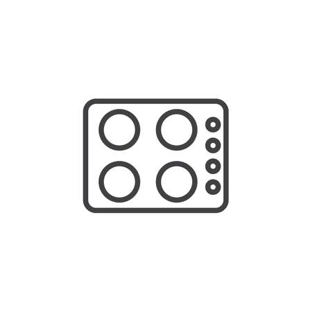 Kitchen Stove outline icon. linear style sign for mobile concept and web design. Burner simple line vector icon. Symbol,  illustration. Pixel perfect vector graphics Ilustração