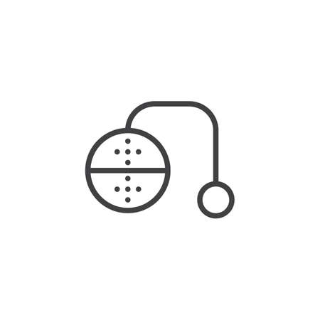 Tea infuser outline icon. linear style sign for mobile concept and web design. tea strainer simple line vector icon. Symbol,  illustration. Pixel perfect vector graphics