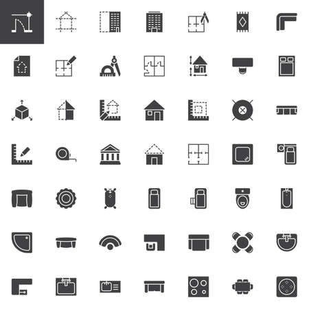 Architecture elements vector icons set, modern solid symbol collection, filled style pictogram pack. Signs, logo illustration. Set includes icons as Blueprint project plan, Building construction Banque d'images - 112007275