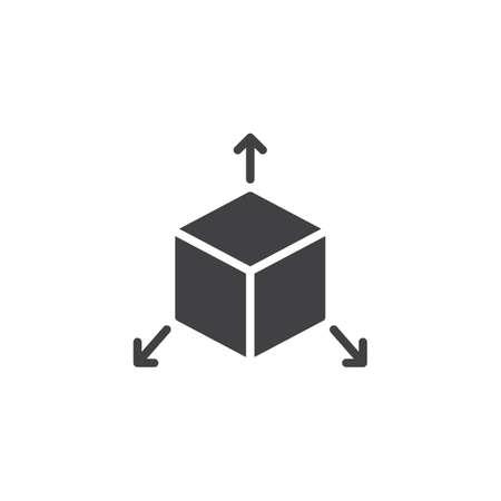 Würfel mit Pfeilen aus Vektorsymbol. gefülltes flaches Schild für mobiles Konzept und Webdesign. Dreidimensionales solides Symbol. Symbol, Logoillustration. Pixelperfekte Vektorgrafiken Logo