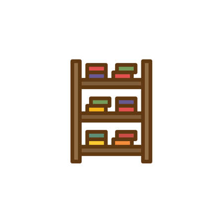Shelf and books filled outline icon, line vector sign, linear colorful pictogram isolated on white. Bookshelf symbol, illustration. Pixel perfect vector graphics