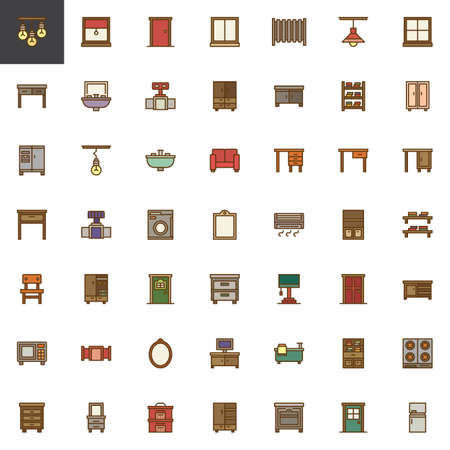 Household furniture filled outline icons set, line vector symbol collection, linear colorful pictogram pack. Signs, illustration, Set includes icons as Window, Door, Radiator, Table, Sink, Closet