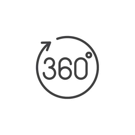 360 angle panoramic view outline icon. linear style sign for mobile concept and web design. 360 Degrees rotation arrow simple line vector icon. Symbol illustration. Pixel perfect vector graphics