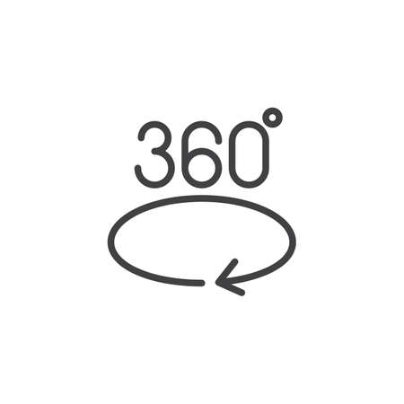 360 degree arrow outline icon. linear style sign for mobile concept and web design. Angle 360 degrees simple line vector icon. Symbol,  illustration. Pixel perfect vector graphics 矢量图像