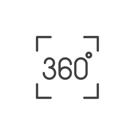 Panorama 360 degree outline icon. linear style sign for mobile concept and web design. 360 degrees virtual reality simple line vector icon. Symbol, illustration. Pixel perfect vector graphics