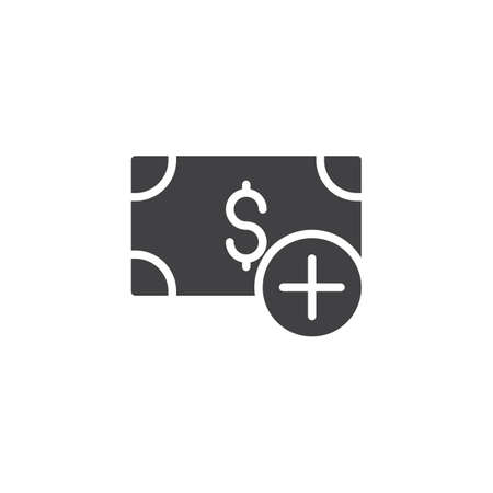 Dollar add vector icon. filled flat sign for mobile concept and web design. Money plus simple solid icon. Additional fees symbol, logo illustration. Pixel perfect vector graphics