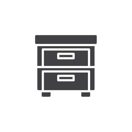 Nightstand vector icon. filled flat sign for mobile concept and web design. Drawer simple solid icon. Symbol, logo illustration. Pixel perfect vector graphics