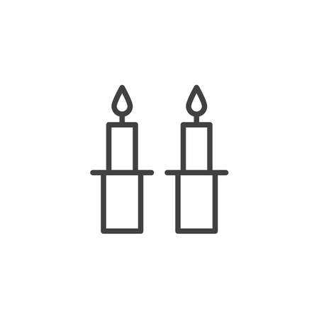 Shabbat candles outline icon. linear style sign for mobile concept and web design. Jewish Candles simple line vector icon. Symbol, logo illustration. Pixel perfect vector graphics