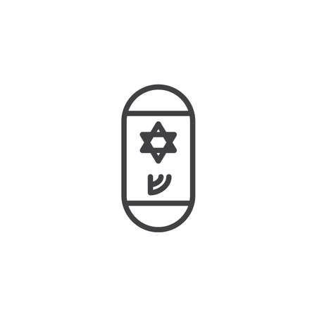 Jewish mezuzah outline icon. linear style sign for mobile concept and web design. Mezuzah with Hebrew letter and David star simple line vector icon. Symbol, logo illustration. Pixel perfect vector