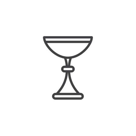 Kiddush wine cup outline icon. linear style sign for mobile concept and web design. Jewish Goblet simple line vector icon. Symbol, logo illustration. Pixel perfect vector graphics Illustration