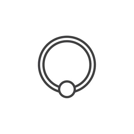 Piercing jewelry outline icon. linear style sign for mobile concept and web design. Ball closure ring simple line vector icon. Symbol, logo illustration. Pixel perfect vector graphics 矢量图像
