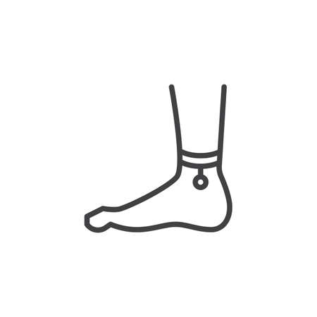 Feet with anklet outline icon. linear style sign for mobile concept and web design. Legs and ankle Jewelry simple line vector icon. Symbol, logo illustration. Pixel perfect vector graphics