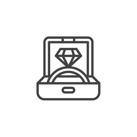Engagement ring in a jewelry box outline icon. linear style sign for mobile concept and web design. Proposal diamond ring in box simple line vector icon. Symbol logo illustration. Pixel perfect vector