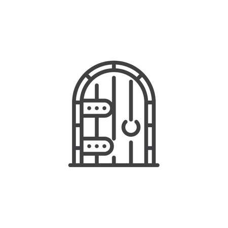 Icono de contorno de puerta de bodega. signo de estilo lineal para concepto móvil y diseño web. Icono de vector de línea simple de puerta de madera. Símbolo, ilustración de logotipo. Gráficos vectoriales perfectos para píxeles
