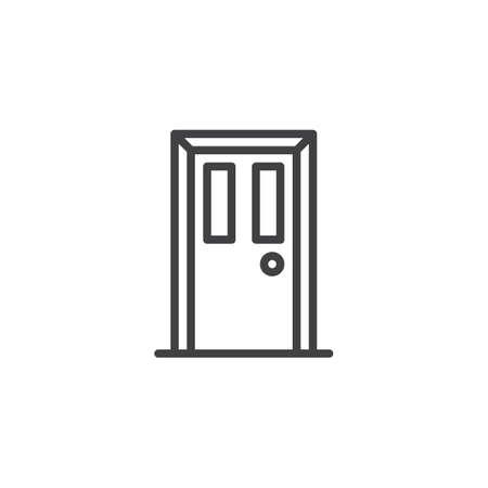 Icono de contorno frontal de puerta. signo de estilo lineal para concepto móvil y diseño web. Icono de vector de línea simple de puerta cerrada. Símbolo, ilustración de logotipo. Gráficos vectoriales perfectos para píxeles Logos